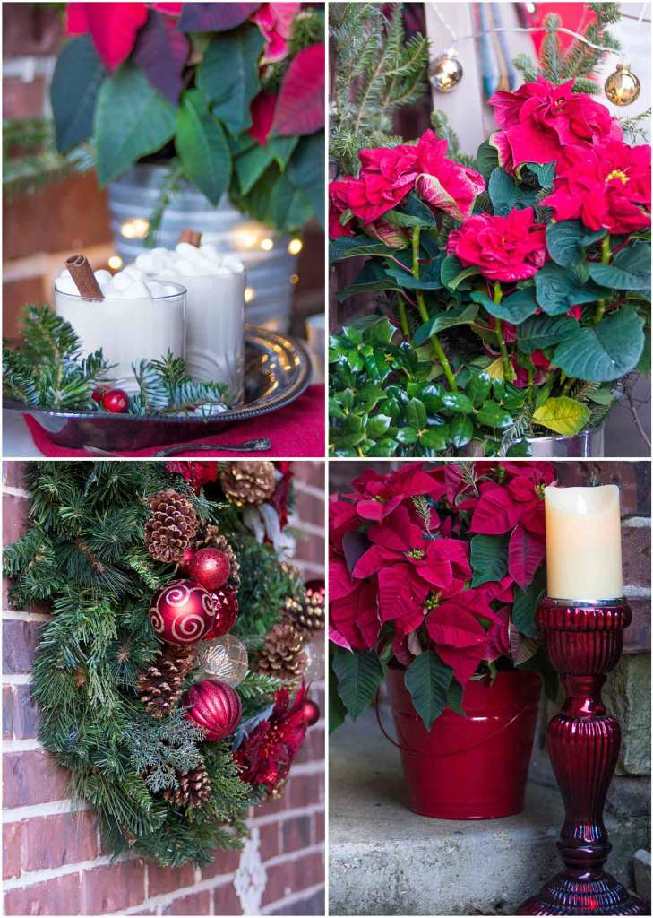 Up close details of holiday Christmas porch decor