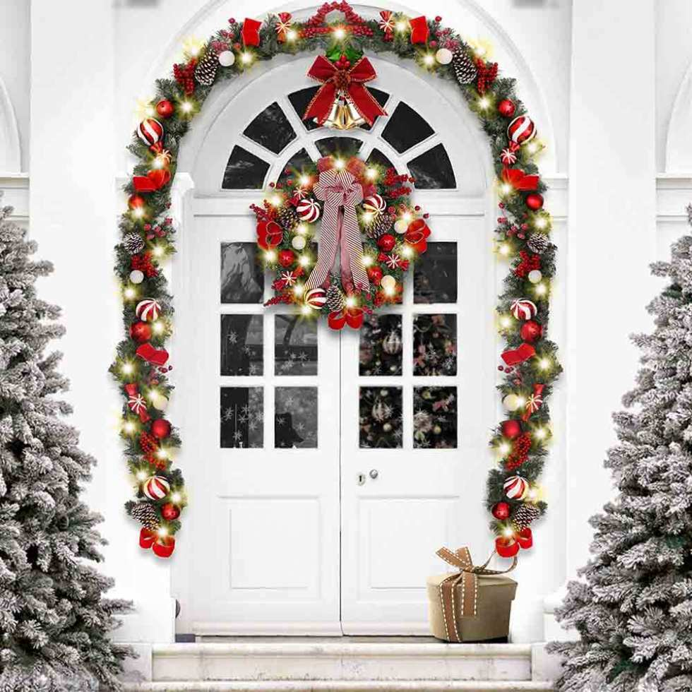 Valery Madelyn Pre-Lit Traditional Red and White Christmas Wreath
