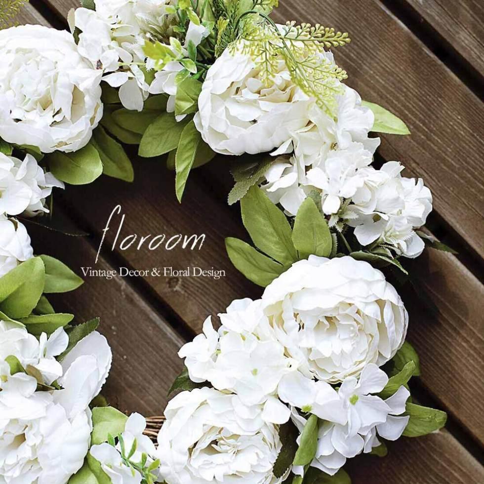 White Peony Wreath