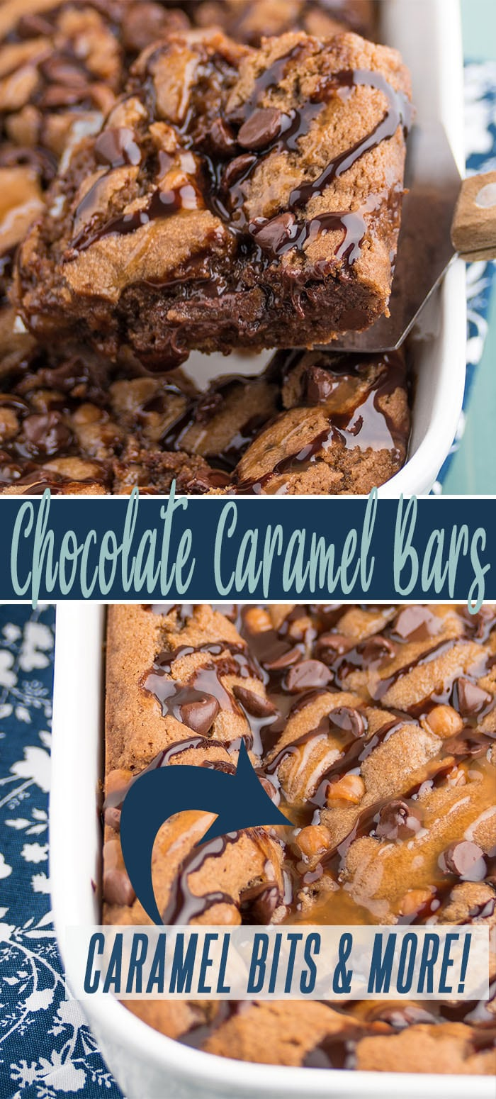 chocolate caramel bars long pin showing brownie style cookies in a white casserole dish