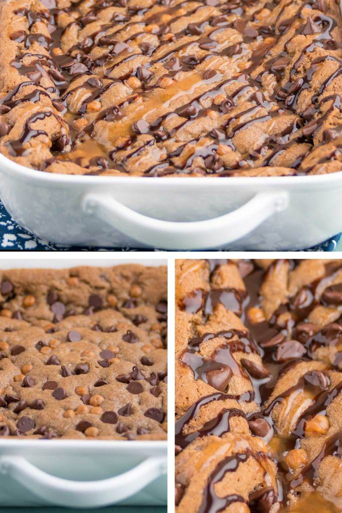 soft and brownie like cookie bars with chocolate chips and caramel bits in a casserole dish