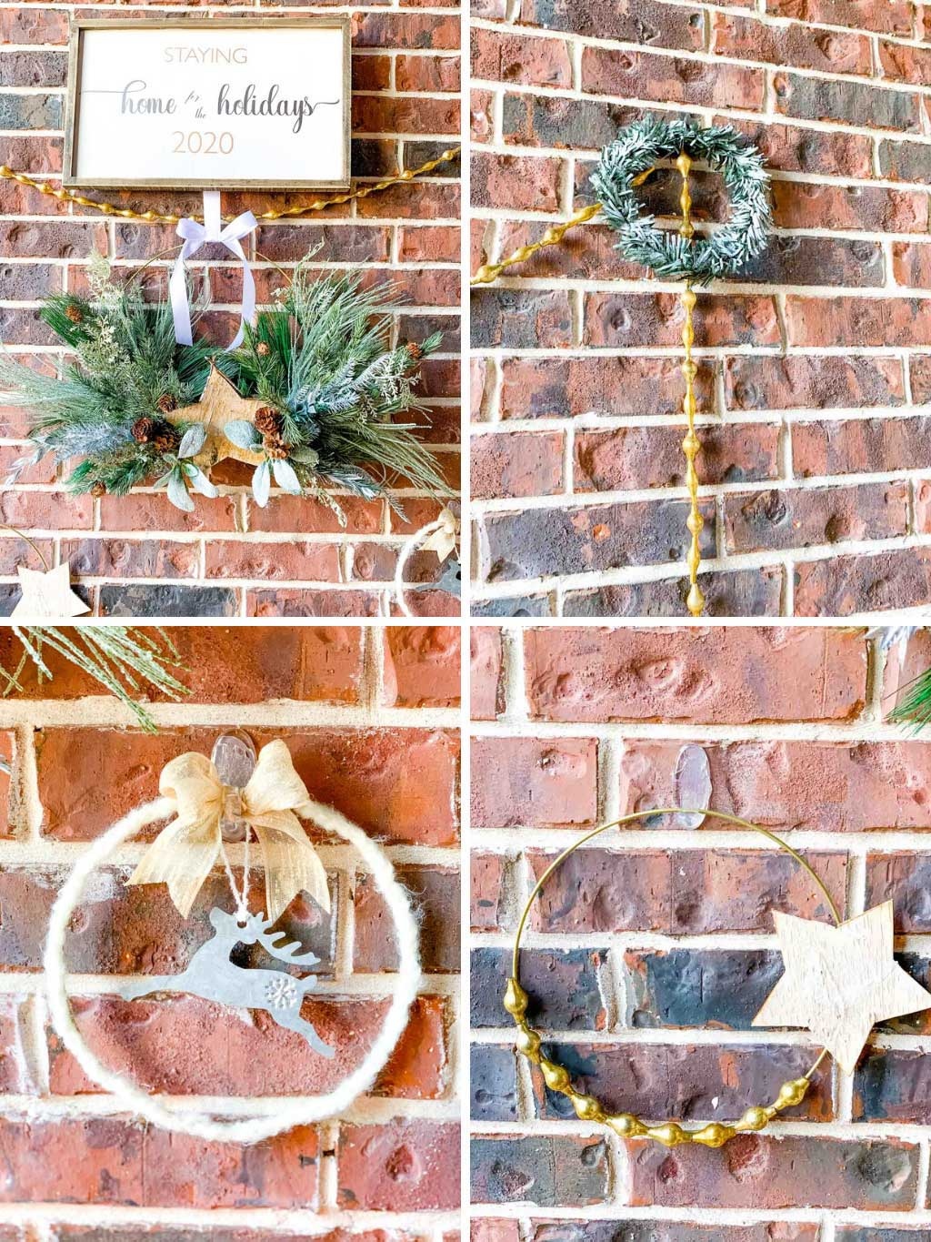 4 holiday wreaths with gold white and silver accents