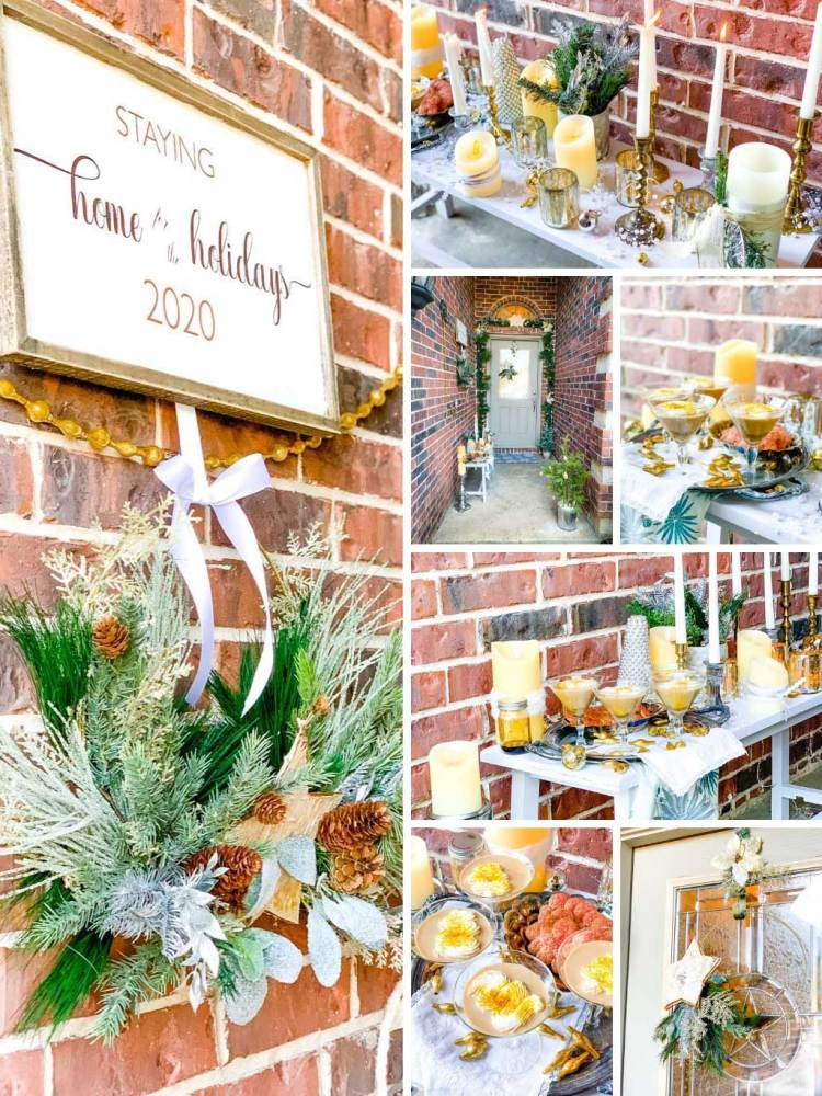 A collage of front porch Christmas decor