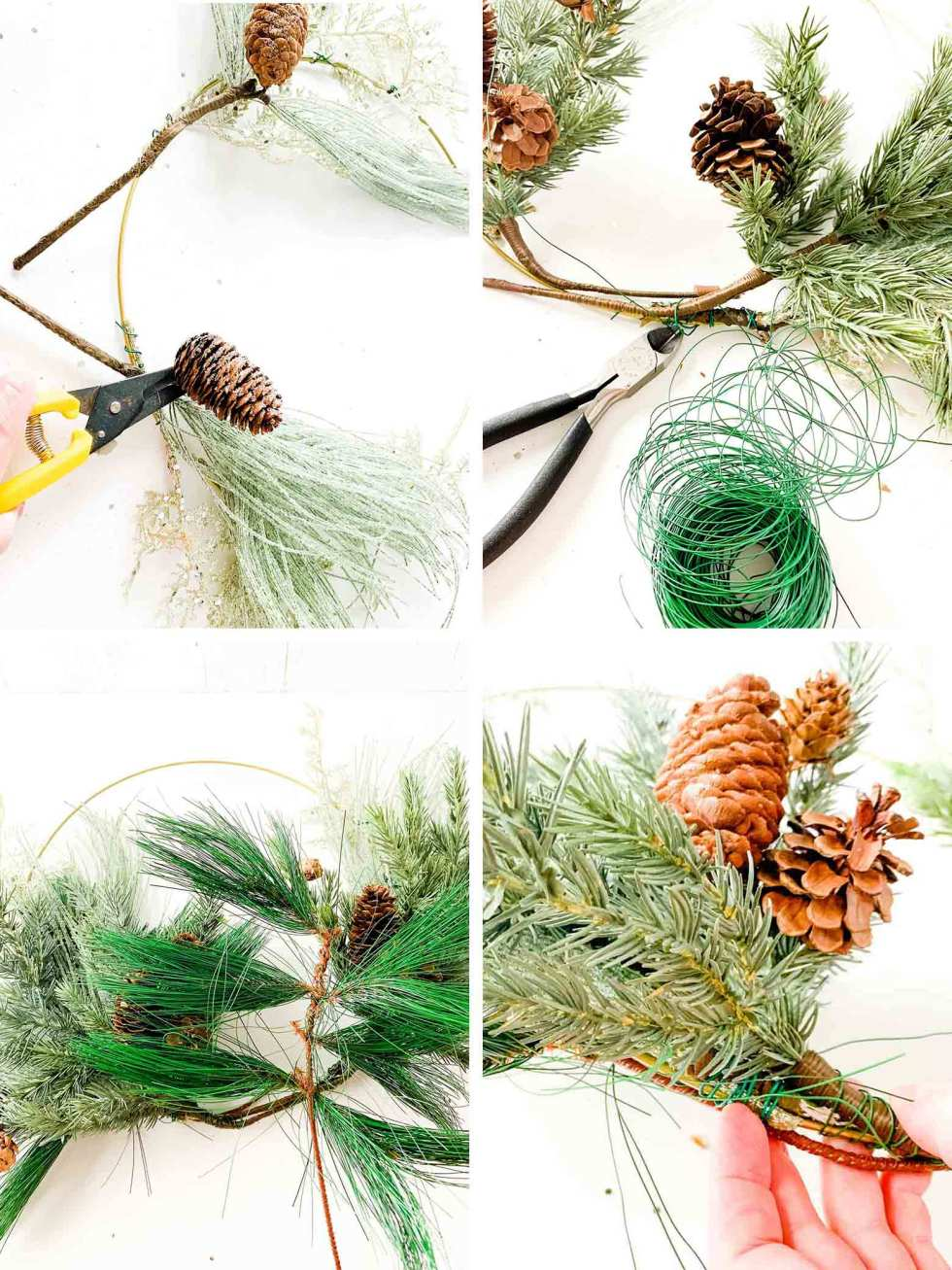 adding layers of floral stems onto a wreath