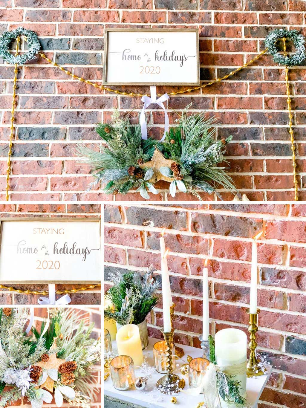 Wall of wreaths and candle sticks