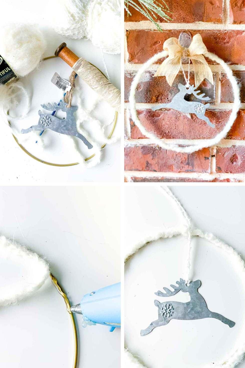small reindeer wreath with yarn