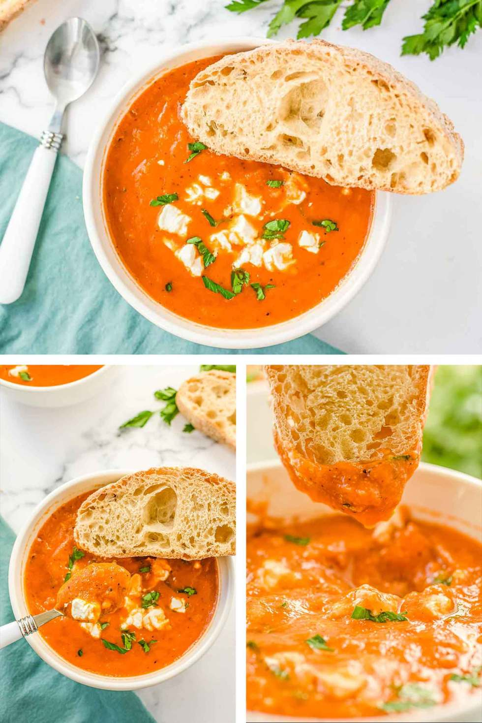 a white bowl filled with tomato and roasted red pepper soup with lentils with a side of crusty french bread slices.