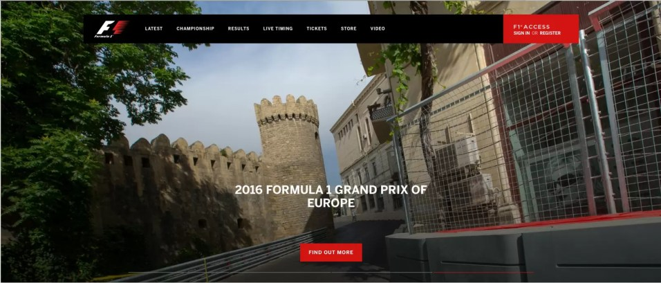 F1 Official Page use picture as header