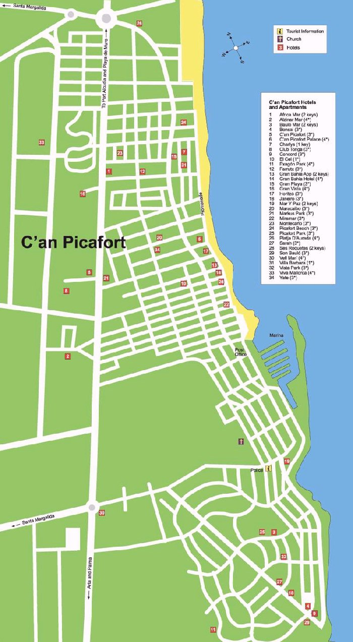Can Picafort Street Map And Travel Guide