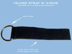 Les straps de velcro à fixer sur les poignées de votre nacelles pour une attache rapide du système