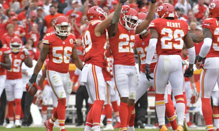Sep 25, 2016; Kansas City, MO, USA; Kansas City Chiefs cornerback Marcus Peters (22) is congratulated after intercepting a pass during the first half against the New York Jets at Arrowhead Stadium. Mandatory Credit: Denny Medley-USA TODAY Sports