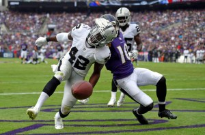 Oakland Raiders safety Karl Joseph (42) chases after a ball after breaking up a pass attempt to Baltimore Ravens wide receiver Chris Moore (10) in the first half of an NFL football game, Sunday, Oct. 2, 2016, in Baltimore. (AP Photo/Nick Wass)