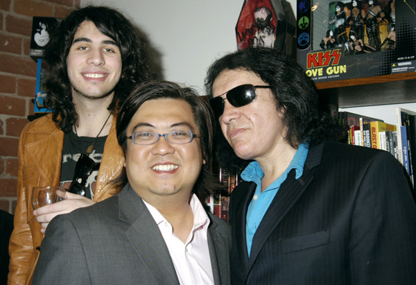 Nick Simmons, Radical Publishing's Edmund Shern and musician Gene Simmons of KISS attend the Grand Opening of Radical Publishing held at the Radical Publishing offices on February 19, 2009 in Los Angeles, California.