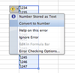 Fixing numbers stored as text in excel