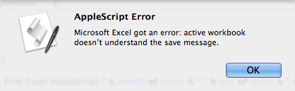 AppleScript Excel Error Message