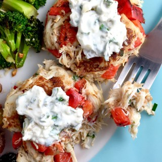 Lemon Herb Crab Cakes with Creamy Garlic Chive Sauce