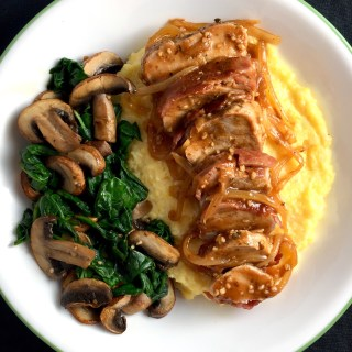 Bacon-Wrapped BBQ Pork Tenderloin over Polenta