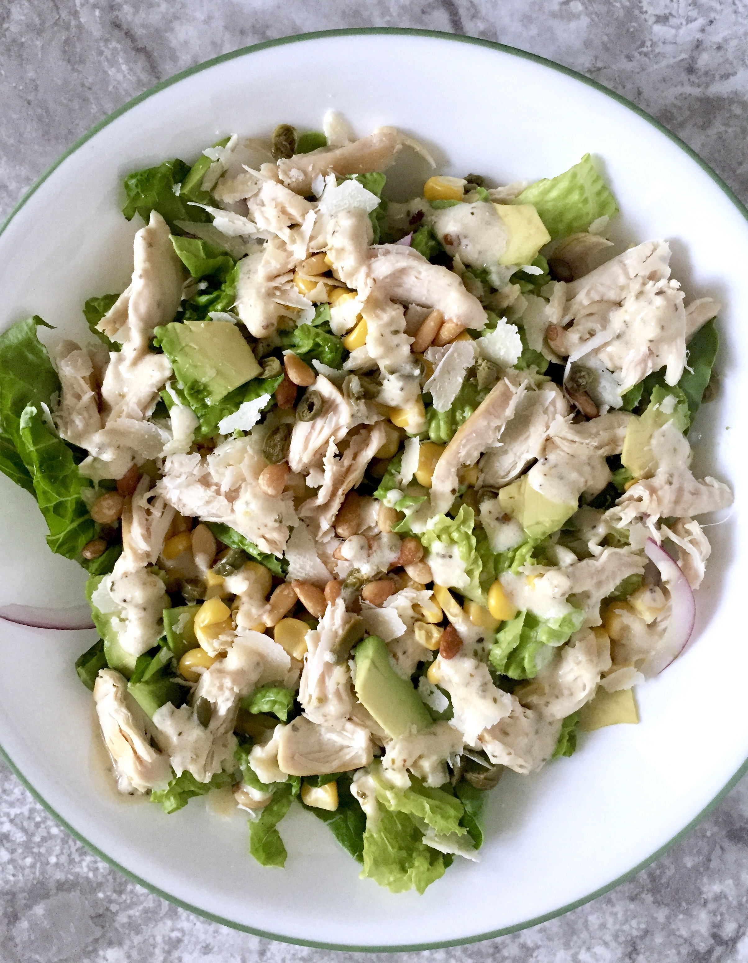 How to prepare a salad with pine nuts and chicken in different ways