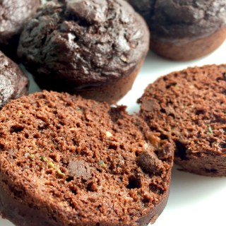 Healthy Double Chocolate Banana Zucchini Muffins