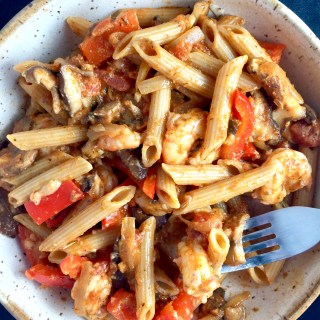 Cheesy Pomodoro Shrimp Penne with Mushrooms, Peppers, and Olives