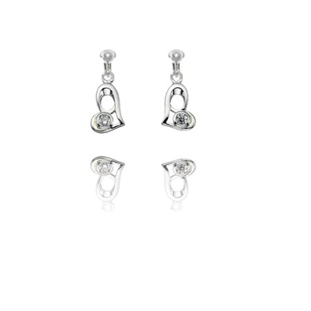 Basics Sterling Silver Cubic Zirconia Funky Heart Clip On Earrings