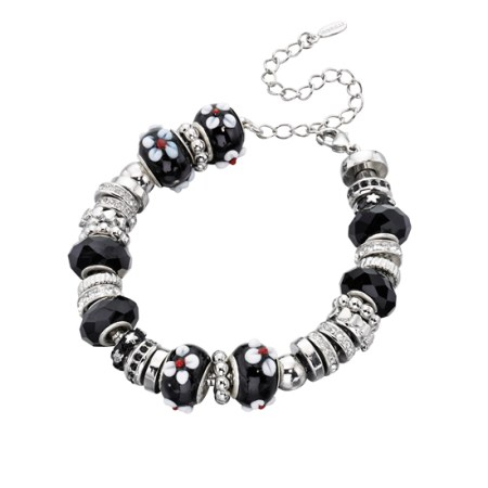 Fiorelli Silver and Black Beaded Charm Bracelet