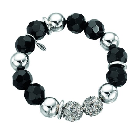 Fiorelli Silver, Black and Crystal Beaded Bracelet