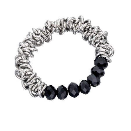 Fiorelli Black Beaded Scrunchie Style Bracelet
