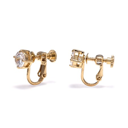 Rodney Holman Gold Plate CZ Solitaire Clip On Earrings
