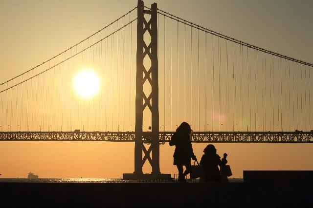 橋に太陽が沈むところ