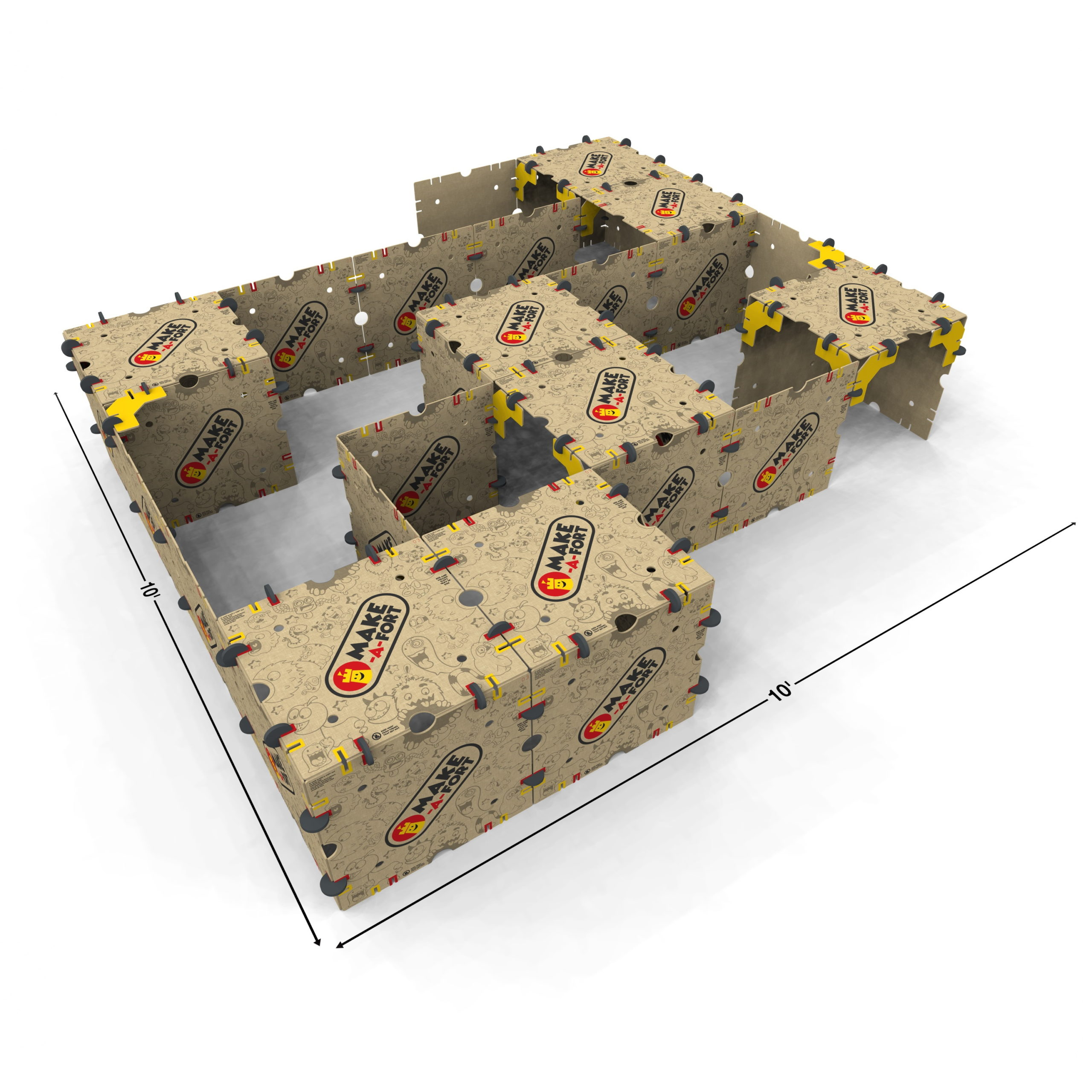 A large maze built with Make-A-Fort Build Kits