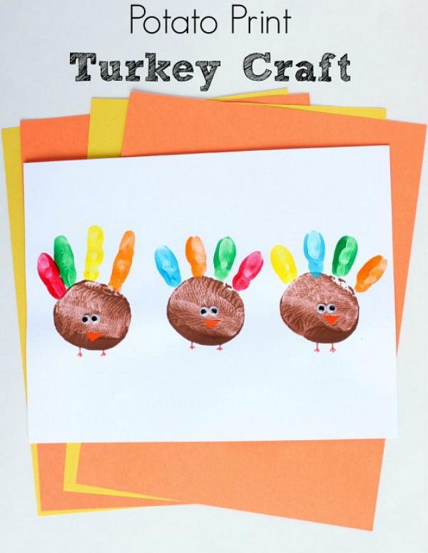 Potato Print Turkey Craft Make And Takes