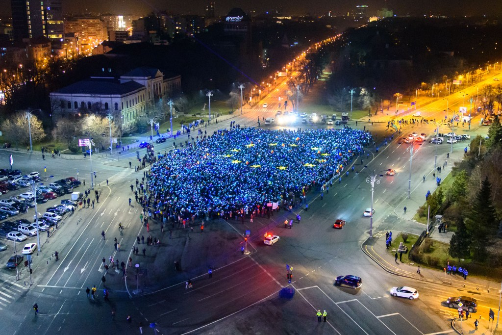 Protesters forming EU flag on Victory Square, Bucharest