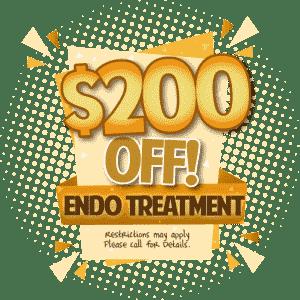 $200 off Endodontic treatment in El Dorado Hills Make A Smile Graphic