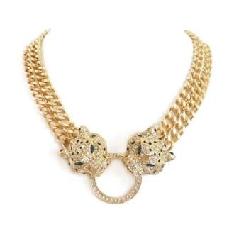comprar un collar de cadena con tigres dorado