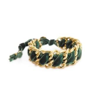 comprar online pulsera trenzada de terciopelo verde