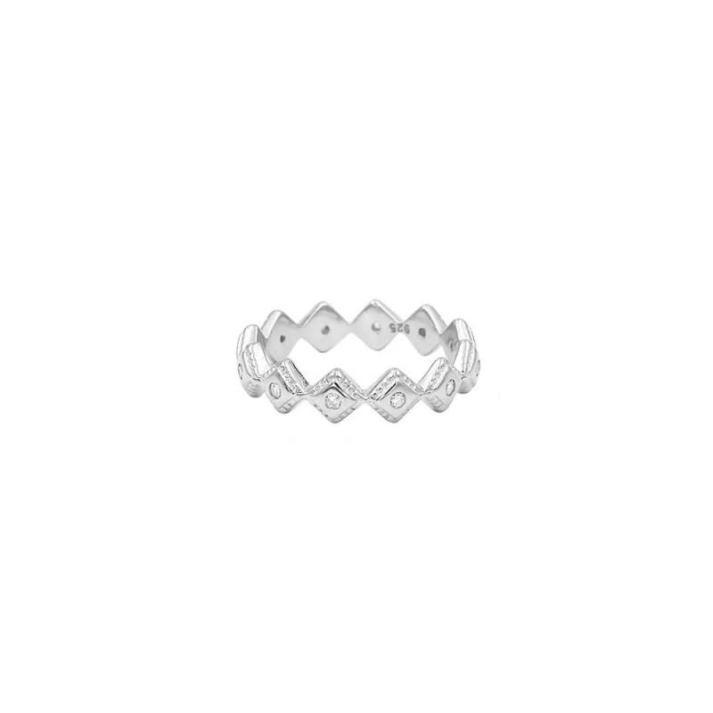 anillo tiara en plata de ley con circonitas