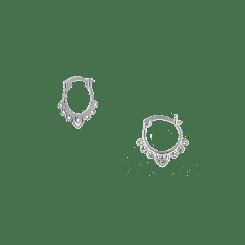 Pendientes de aro estilo boho en plata de ley