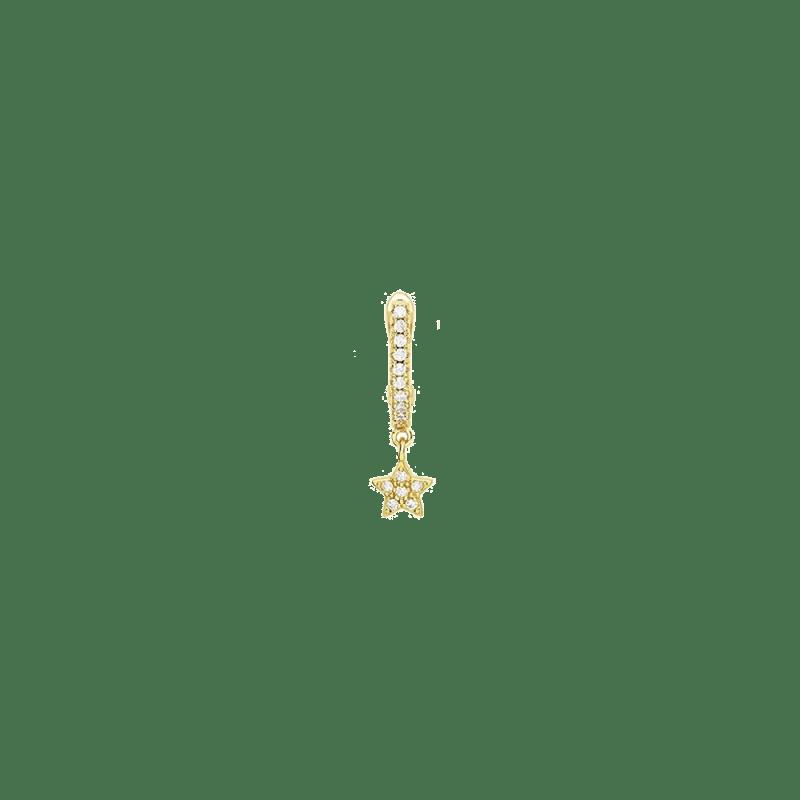 Aro de estrella de plata bañada en oro 18k y decorada con circonitas