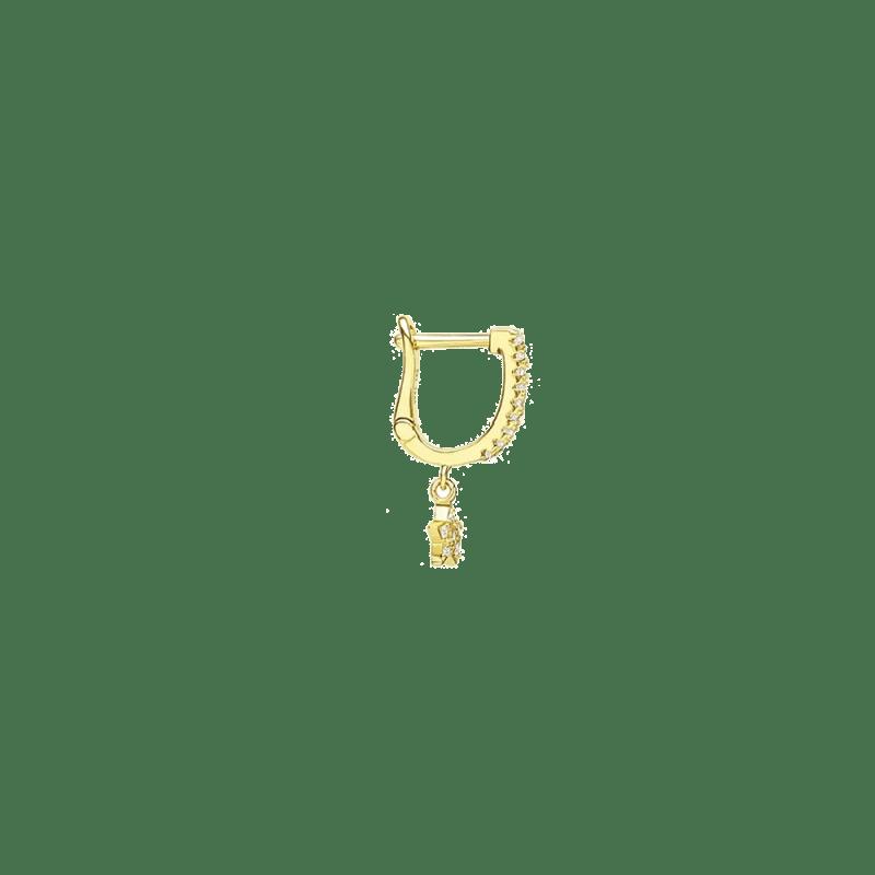 Pendiente de aro con estrella dorado con circonitas