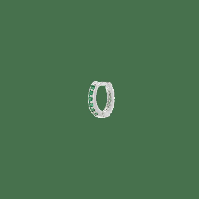 Aro verde esmeralda en plata de ley de 10mm