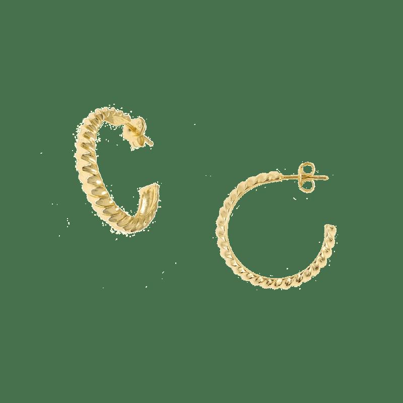 Pendientes de aro ancho con diseño twist en vermeil