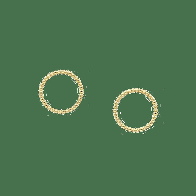 Pendientes de aro frontal bañados en oro amarillo decorados con bolitas