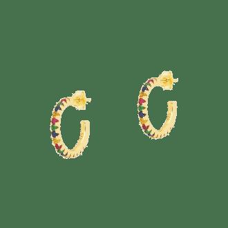 Aros grandes con circonitas multicolor en plata bañada en oro