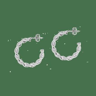 Pendientes de plata de ley estilo aro con diseño trenzado