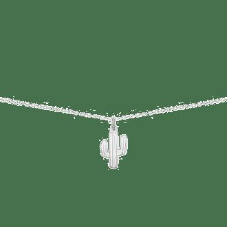 Collar con colgante en forma de cactus en plata de ley