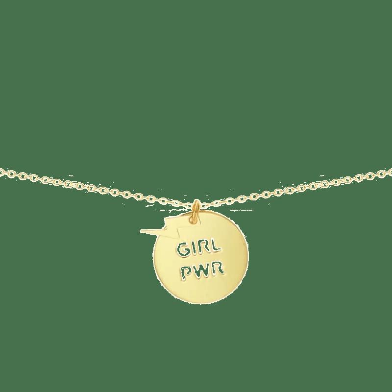 Collar con medalla con mensaje feminista girl power