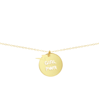 Collar con medalla con mensaje feminista girl power