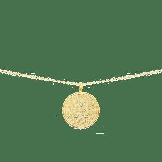 Collar largo con medalla de signos del zodiaco