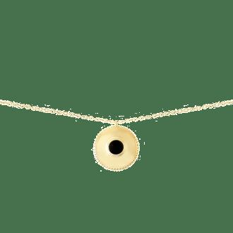 Collar con colgante redondo estilo medalla con piedra negra onix en la parte central